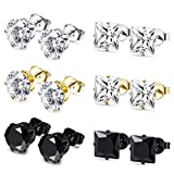 JOERICA 6 Pairs Stainless Steel Stud Earrings for Men Women CZ Earrings,3-8MM