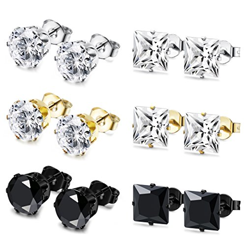 JOERICA 6 Pairs Stainless Steel Stud Earrings for Men Women CZ Earrings,8MM