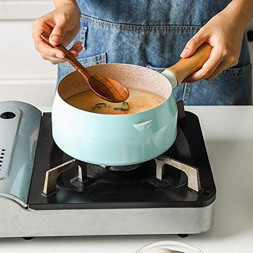 LEILEI Petite Casserole à Lait Bleue de 1.5L avec Le cuiseur à Vapeur d'acier Inoxydable,Casserole antiadhésive en Pierre de Maifan avec la poignée en Bois