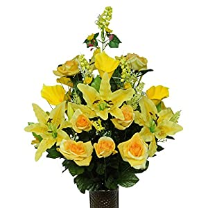 Ruby's Silk Flowers Yellow Rose and Lily Mix Artificial Bouquet, Featuring The Stay-in-The-Vase Design(c) Flower Holder (LG1005) 81