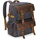 Endurax Leather Camera Backpack Waterproof for Men Women DSLR Camera Bag with 15.6 Inch Laptop Compartment Vintage Durable Genuine Leather