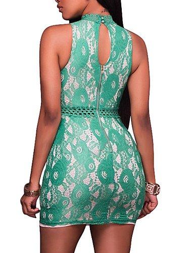De Redondo De Fiesta Elástica Vestido Fiesta Mangas Vestido De Mujer Micro Bloque Mujer Sin Fiesta Impresión JIALELE Color Mediano Green Cuello v6SqpWI
