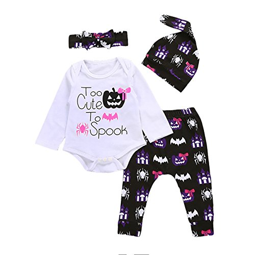 Baby Too Cute to Spook Halloween Bodysuits Pumpkin Pants Headband Hat 4pcs Outfits (18-24M, white) ()