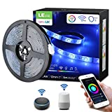 LE LampUX WiFi Smart LED Strip Lights Works with Alexa Google Home, 16.4ft, Daylight and RGB Color Changing, Waterproof, SMD 5050 LED Rope Light, 12V Flexible Tape Light Under Cabinet Strip Lighting