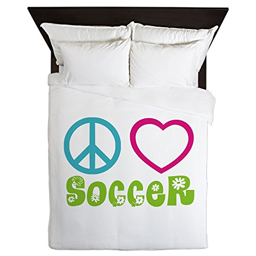 CafePress - Peace Love Soccer - Queen Duvet Cover, Printed Comforter Cover, Unique Bedding, Microfiber by CafePress