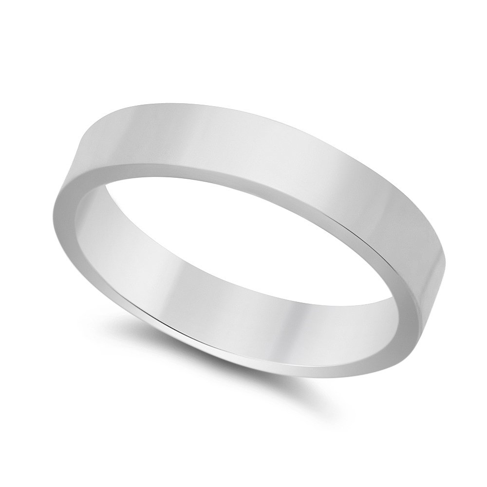 4mm 925 Sterling Silver Nickel-Free Flat Edged Wedding Band, Size 11.5 - Made in Italy + Bonus Cloth