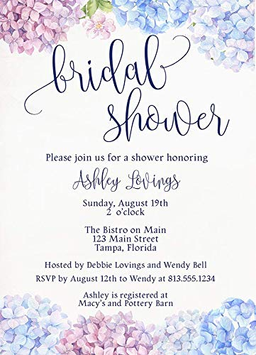(Hydrangea Bridal Shower Invitations Wildflower Baby Sprinkle Invites Floral Clusters Pink Blue Purple Watercolor Hand Painted Flowers Chic Spring Birthday Party Wedding Customize (10)