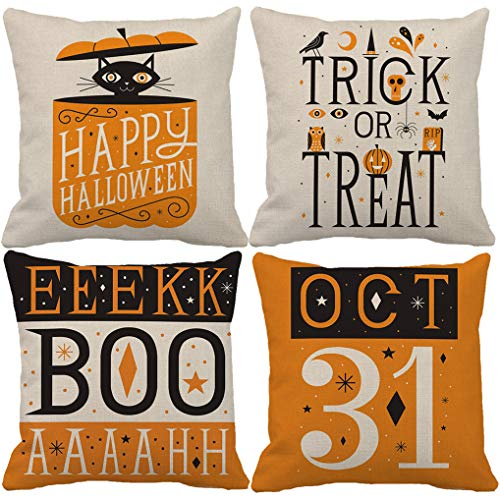 Black Cat Pattern For Halloween (7ColorRoom Set of 4 Halloween Decor Pillow Covers Black Cat/Pumpkin Pattern Cushion Cover with Happy Halloween/Trick or Treat Quote Decorative Pillowcases 18 x 18 Inches(Cat)