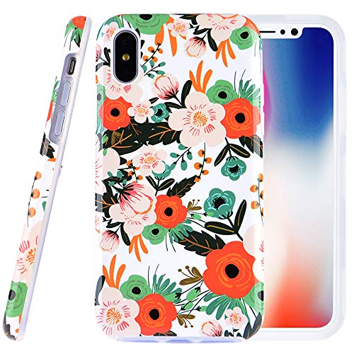 Dimaka Case for iPhone X and iPhone Xs, Colorful Floral Flower Case Cute Design for Girls, 2 Layers TPU and PC Slim Protective Cover for Apple iPhone X/XS 5.8 (1, iPhone X and XS)