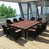 "Daonanba Strong Sturdy Dining Set Outdoor Furniture Set Garden Table Chair Set Set 11 Pcs Poly Rattan Black 79""x59"""