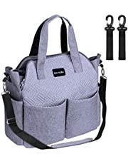 Diaper Bag, Multifunction Travel Tote Diaper Bag for Mom and Dad,Multi-Compartment Baby Bag for Boys and Girls with Changing Pad, Insulated Pockets,Large Capacity-Grey