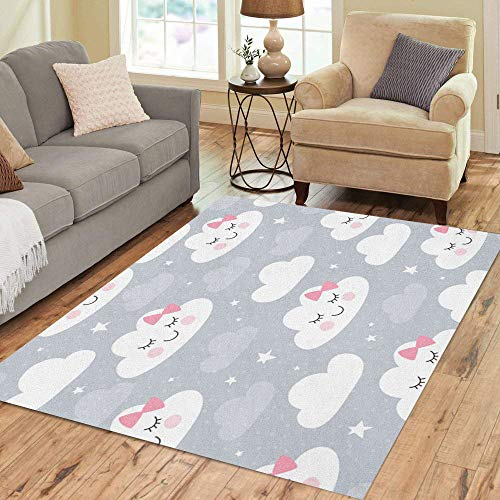 Pinbeam Area Rug Colorful Cute Clouds Pattern Pink Baby Face Nursery Home Decor Floor Rug 5' x 7' Carpet