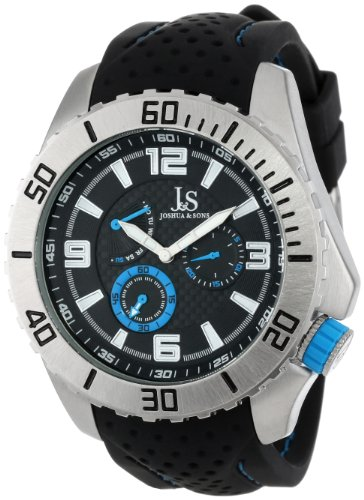 Joshua & Sons Men's JS53BU Multi-Function Silver-Tone Watch with Perforated Black Silicone Strap