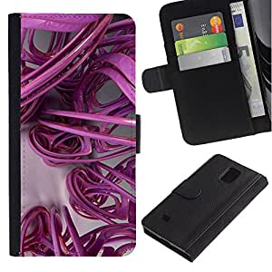 KingStore / Leather Etui en cuir / Samsung Galaxy Note 4 IV / Arte 3D líneas abstractas de plástico