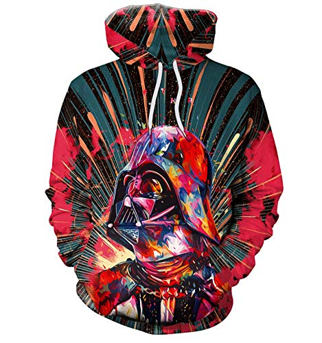 3D Dark Warrior Print Sweatshirt Pullover Hoodie Sweater for Men and Women Red]()