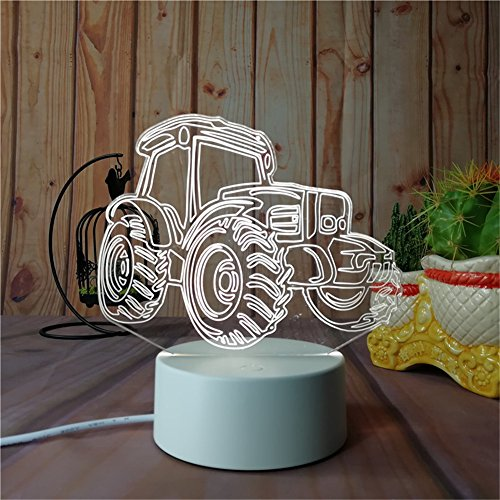 The 3D Night Light Series Home Decor For Kids Bed Room, Party Atmosphere Can Output 7Colors Remote Control Nightlight Base Can Attach Diffierent 3D Display Borard (Display Board-Tractor) (Supply Tractor)