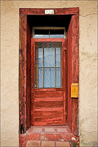 Hand Painted Rural Mailbox (Photograph of very colorful red American Southwest door on adobe wall with yellow mailbox.)