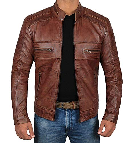 Decrum Moto Leather Jacket Men - Brown Quilted Mens Leather Jackets | [1100066] Austin Brown, 2XL Classic Mens Leather Bomber Jackets
