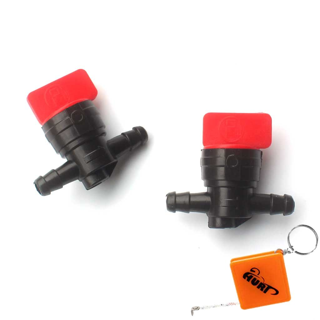 Huri 2x Fuel Tap  –   Fuel Cock I/O 6,35  mm replaces B & S Briggs & Stratton 698183, 494768, 493960  491860  Wolf 2058063, 2059063 35 mm replaces B & S Briggs & Stratton 698183 493960 491860 Wolf 2058063 HRDE123