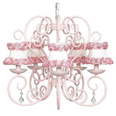 Jubilee Collection 75506-2622 5 Arm Carriage Pink Chandelier with Ring of Roses on White Shade Jubilee Lighting 5 Arm