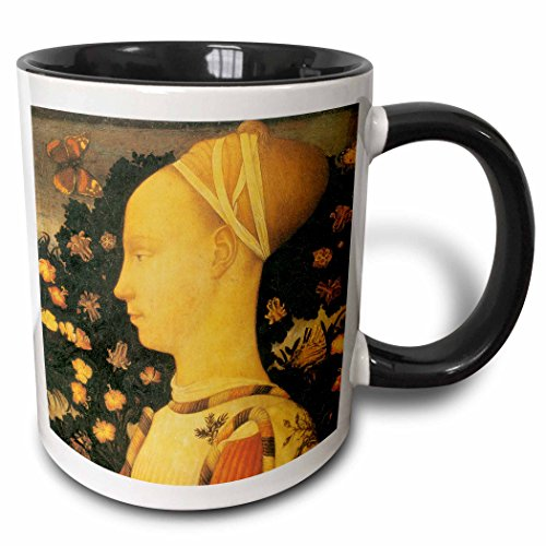 3dRose BLN Italian Renaissance Fine Art Collection - Ginepro dEste by Antonio Pisano - 15oz Two-Tone Black Mug (mug_127096_9)