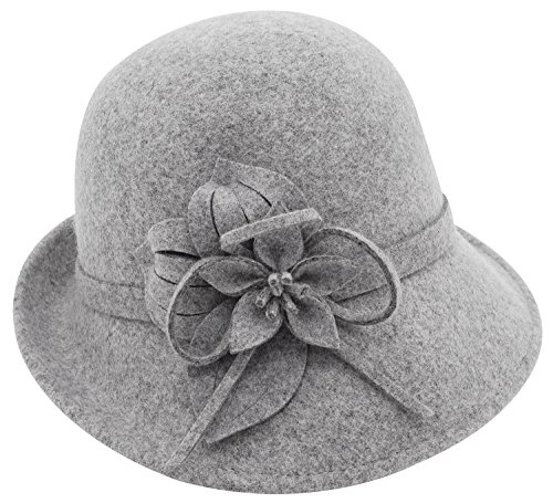 - Bellady Women's Elegant Flower Wool Cloche Bucket Bowler Hat,Style2_gray,One Size