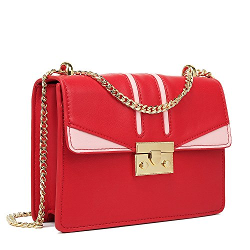 Pu Winter Color Handbag Simple Red Summer Square Bag Strap Retro Shoulder Tote Zipper Lady OpAqw8A