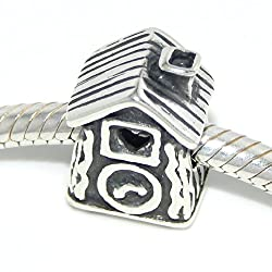 .925 Sterling Silver Cuckoo Clock Charm Bead for Snake Chain Charm Bracelets