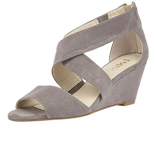Lotus Women's Cheeney Ankle Strap Wedge Sandals Grey Microfibre pLvvaqip