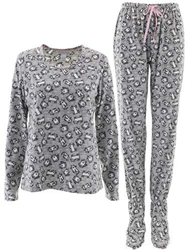 Womens Footed Pajamas - Pillow Talk Women's Cats Gray Fleece Footed Pajamas L