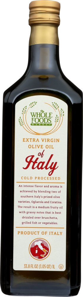Amazon Com Whole Foods Market Extra Virgin Olive Oil Of Italy 33 8 Fl Oz Grocery Gourmet Food