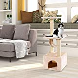 Tangkula Cat Tree Triple Platforms Cat Tower Furniture with Sisal-Covered Scratching Post Pet Climbing Condo (Beige)