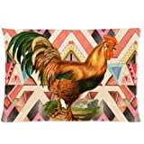 Custom Unique Design Cool Colorful Rooster/Cock Rectangle 20x30 inch One Side Facial/Skin Care Pillowcase Pillow Covers