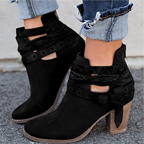 Strap Ankle Heels Boots Block Heels XMWEALTHY Black Buckle Women's Booties Chunky qS1nx8X