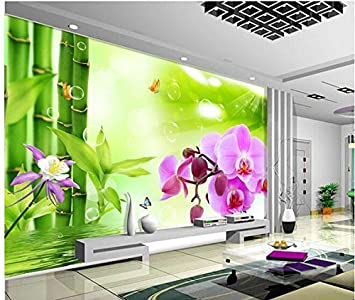 Wapel 3d Customized Wallpaper Bamboo Orchids Wallpapers For Living