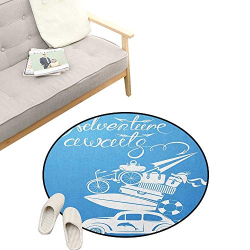 (Adventure Round Rugs for Bedroom ,Adventure Awaits Quote with Summer Holiday Items Surfboard Old Car Art Print, Skid Resistant Rug Pet Pad 31