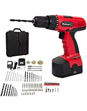 Save on Cordless Drill Set- 89 Piece Kit, 18-Volt Power Tool with Bits, Sockets, Drivers, Battery Charger with AC Adapter, and Carrying Case by Stalwart and more