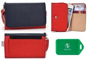 Ladies *Metro series* Red/Navy Blue Universal Wristlet Wallet for Acer Liquid Z3 Duo