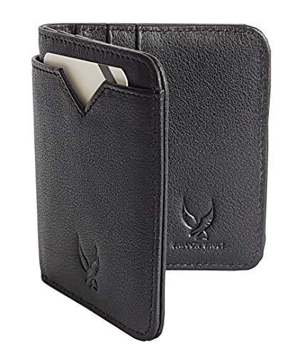 Falcon Vault RFID Blocking Bifold Mens Slim Genuine Italian Leather Wallet in Black