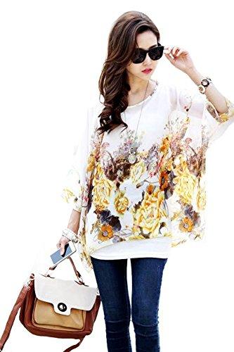 Batwing Hippie 3 Shirt de T Bohme Blouse Manches JLTPH Mousseline 4 en Hhippie Femme Chemise Soie Color23 Tops qFfw6v1O