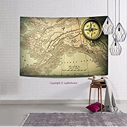 sophiehome-321270047 Antique brass compass over old XIX century map tapestry wall hanging magical thinking tapestry 59W x 51.1L Inches