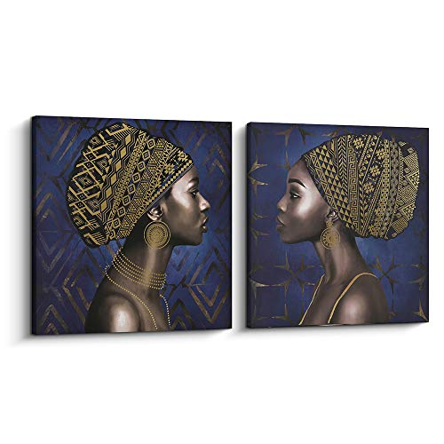 Pi Art Framed Afro Art Canvas Print Blue and Gold Wall Decor, Traditional African Black Art Woman Portrait Modern Wall Painting for Home Decoration (32x32 inch, C and D)