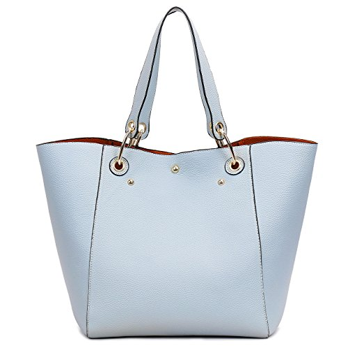 sacchetto borsetta Moda sintetica Tibes pelle Azzurro spalla impermeabile A Nero di D qExZI