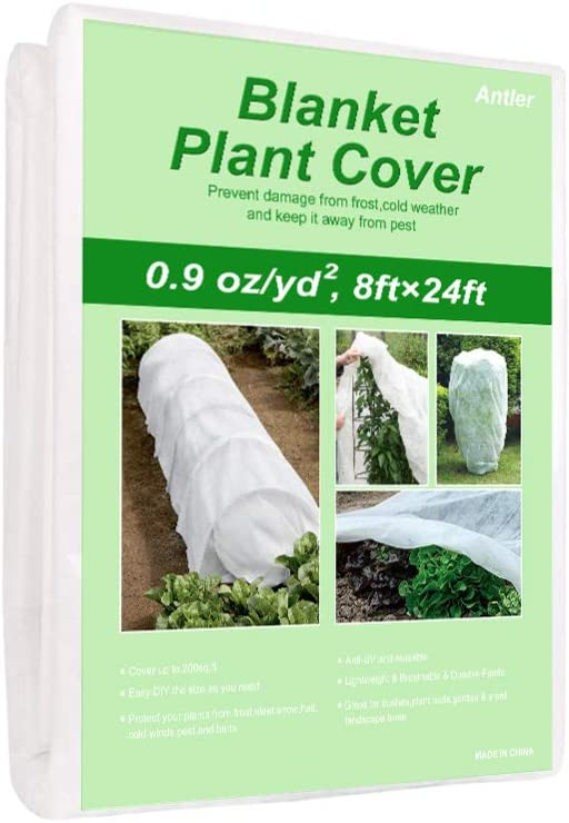 Antler Plant Covers Freeze Protection -0.9oz/yd² 8ft×24ft Garden Fabric Plant Blanket Floating Row Cover Tree Shrub Ground Cover for Winter Cold Weather Frost Animal Pest Protection & Season Extension