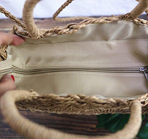 Rotonde Cammello Amichevoli Vacanza Borse Bag Single Crossbody Stoccaggio Estate Ambiente Popolare Donne Paglia Dexinx Portatile Intrecciata Color Spiaggia Solido pvTIq7