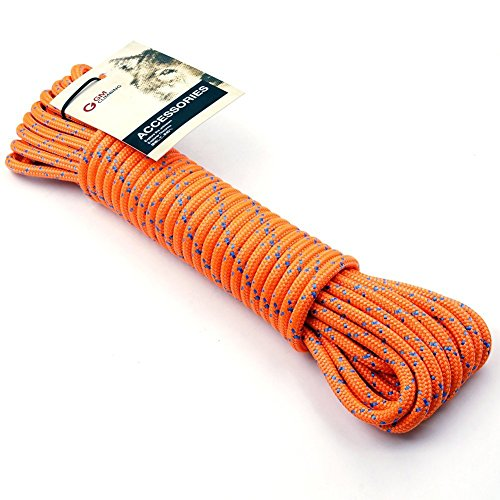 - GM CLIMBING 50ft 8mm Double Braid Accessory Cord Rope Fluorescent