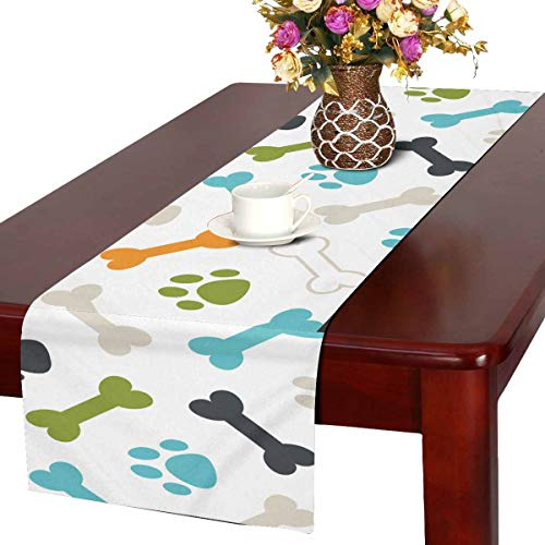 INTERESTPRINT Rectangle Printed Table Runner for Parties, Christmas & Holidays Colored Dog Footprint and Bones 16x72 Inchs