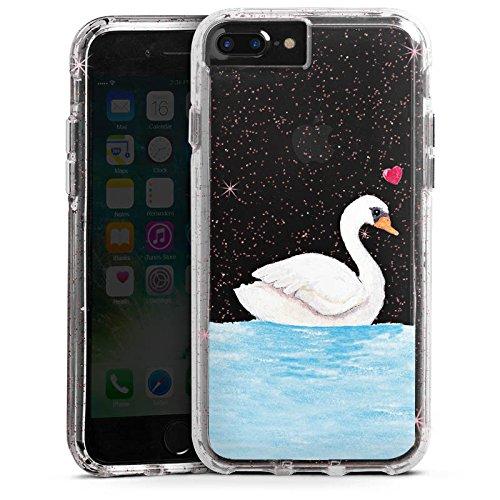 Apple iPhone 7 Plus Bumper Hülle Bumper Case Glitzer Hülle Schwan ohne Hintergrund Liebe