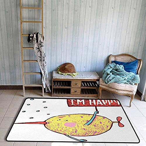 - Oversized Floor Rug Cartoon Kids Fat Little Chubby Fish Character Holds Happy Phrase Flag Humor Animal Decor Breathability W67 xL79 Multicolor