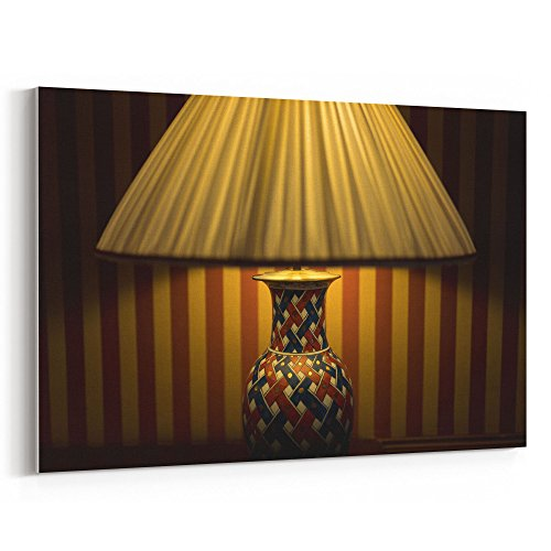 Hand Printed Shade Table Lamp - Westlake Art - Lamp Light - 12x18 Canvas Print Wall Art - Canvas Stretched Gallery Wrap Modern Picture Photography Artwork - Ready to Hang 12x18 Inch (1B78-21983)